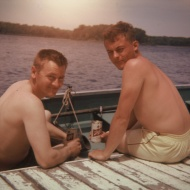 My Dad and someone he knew back in 1965.  A great ad for Schlitz, maybe.
